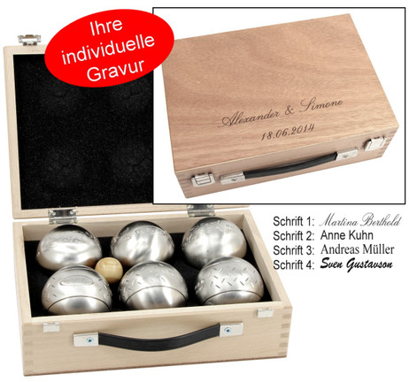 OBUT 6-SET, Leisure time Boules in the wood case, with engraving