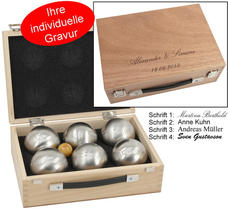 OBUT 6-SET -2, Leisure time Boules in the wood case, with engraving