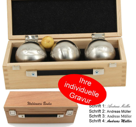 OBUT K3 Salamandre, Boules Set, in wooden box with engraving, idea for Present