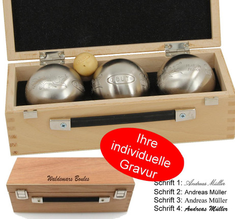 OBUT K3 Tatou, Boules Set, in wooden box with engraving, idea for Present