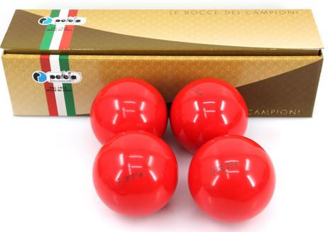 Perfetta EURA  ROSSO Wettkampf Boccia Kugeln (4er Satz) in Rot