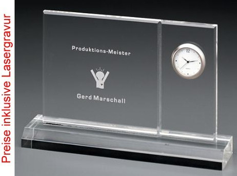 Acrylic trophy with clock type 2