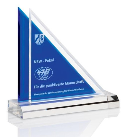 Triangle Award, Clear Ocean Trophy - Acrylic trophy