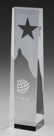 Star Obelisk - Cristal glass Trophy with metal