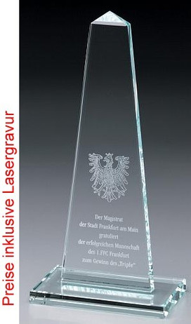 Obelisk Award - Crystal glass - trophy