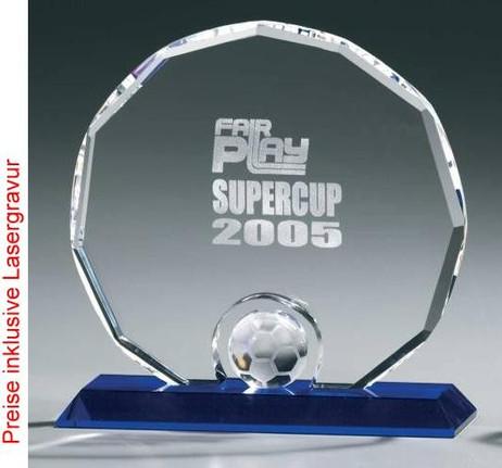 Soccer Circle Award - Crystal glass - trophy