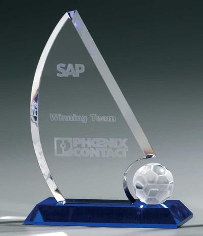 Soccer Sail Award - Crystal glass - trophy