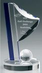 Crystal Flag - Indigo Crystal - Crystal glass - trophy