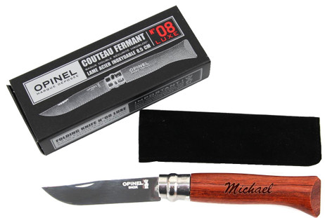 Luxe Opinel folding knives size 8, bubinga wood, stainless, with engraving