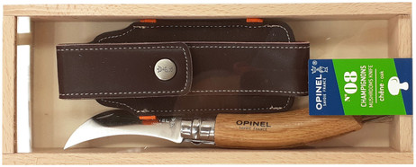 Opinel Mushroom Knife, stainless, oak, wild boar bristles, with case, wooden box