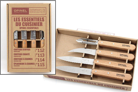 Opinel Kitchen Knife Set, 4-piece, Sandvik stainless steel, beech wood handles