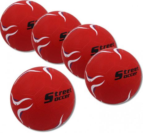 5 Stück Fußball STREET SOCCER Extra rot, Straßen - Fußball