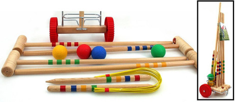 Croquet Set Junior in fitting cart for 4 players, made in Italy