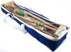 KROCKET / CROQUET Standard Set für 4 Spieler in blauer Tasche, Made in Italy