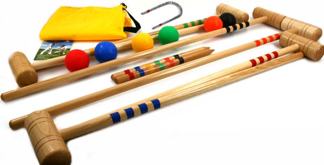 CROQUET for 6 players in yellow carry bag, Quality made in Italy
