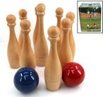 Deluxe Bowling Game made from beechwood, Made in Italy, red and blue balls 001