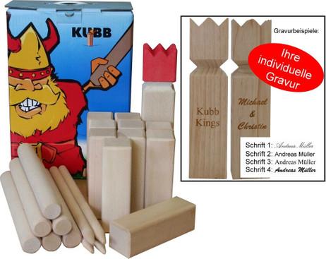 KUBB schwedisches Trendspiel Luxus Version Hartholz, Geschenk Idee mit Gravur