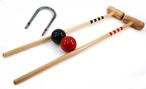 Croquet Bat Set red - black, 2 pc. 80cm Bats, balls and gates, by ludomax