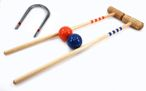 Croquet Bat Set blue - orange, 2 pc. 80cm Bats, balls and gates, by ludomax