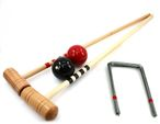 Croquet Bat Set red - black, 2 pc. 100cm Bats, balls and gates, by ludomax