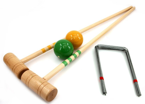 Croquet Bat Set yellow-green, 2 pc. 100cm Bats, balls and gates, by ludomax