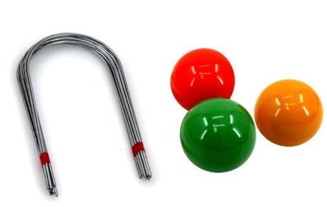 3 Stück Krocket / Boccia Kugeln orange gelb grün + Tore ca. 80 mm von Ludomax
