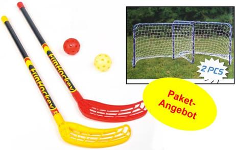 FunHockey Floorball Schläger - Set für 2 Spieler mit Mini Tor Doppel - Set
