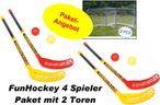 FunHockey Floorball Schläger - Set für 4 Spieler mit Mini Tor Doppel - Set