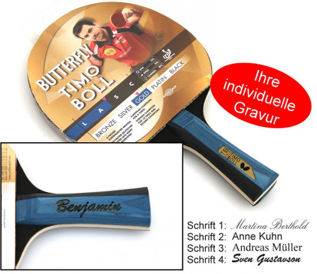 Timo Boll Gold - Butterfly Edition Table Tennis Bat with Gift Engraving