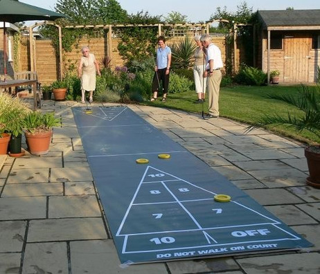 Shuffleboard Mini Roll Out Court Set, komplettes Spiel