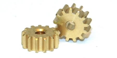 Engine pinion - for 2mm motor shaft, brass, 2 pieces
