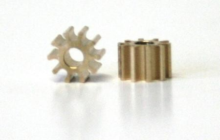 Engine pinion - 5,5mm 10Z for 2mm motor shaft, brass, 2 pieces, Slot.it SIPI10