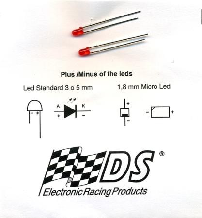 LED red, 3mm diameter, Spare part for Slotcar rearlight (2 pieces), DS 0099
