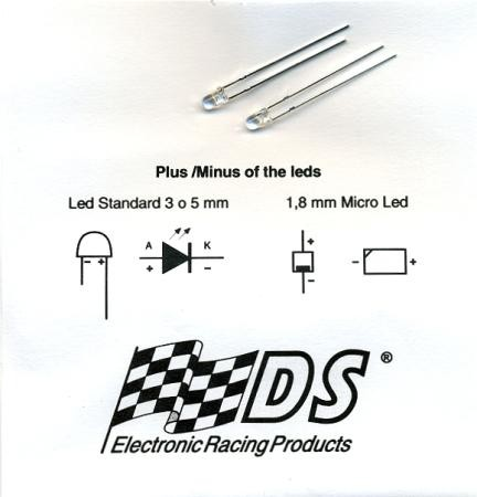 LED Xenon, 3mm diameter, Spare part for Slotcar frontlight (2 pieces)