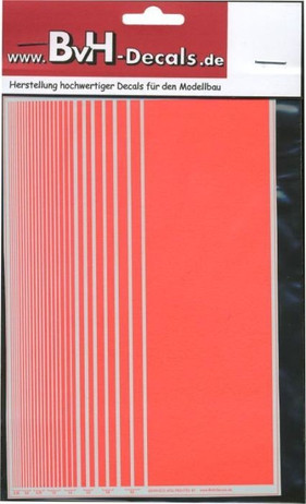 Decal stripes light neon red, for Slotcar und Model build